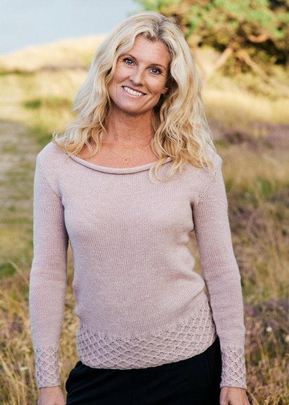Smock knit boat neck pullover sweater PDF knitting