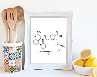 Sugar Molecule, Kitchen Ingredients, Kitchen Art, Chemistry Art, Kitchen Decor, Science Poster, 8x10 Print, 11x14 Print