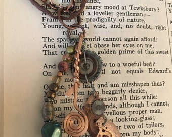 Found Object necklace with watch parts and wire