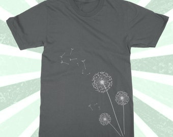 Simple Dandelion Shirt - Minimalist - BOHO Tshirt - Natural -  Make a Wish - May all your Wishes Come True - ECO - Wish Tee - Women's & Mens
