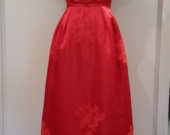 Vintage Red Satin Gown 50s