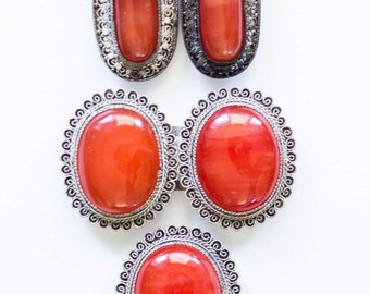 Red Coral Belt Buckle, Shoe Clips, and Tie Clip. Authentic 19th Century Victorian