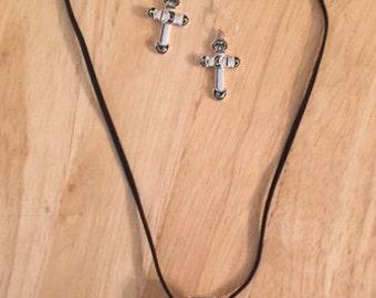 Silver Cross and Earrings