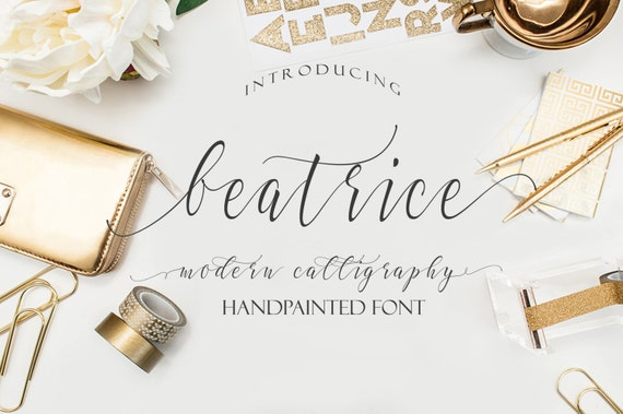 Digital font modern calligraphy download wedding