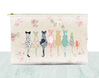 shabby chic purse cat coin pouch zipper pouch shabby chic coin purse shabby chic make up bag, shabby chic toiletry bag, accessory bag, purse