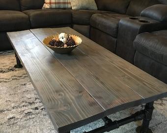 Rustic Coffee Table, Industrial Coffee Table, Distressed Wood Coffee Table, Steel Pipe, Handmade Furniture, Home Decor