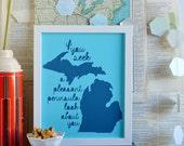 Lake House Art - Cabin Decorations - Rustic Decor - Michigan State Art - Wall Art - State Motto - Pleasant Peninsula - Blue