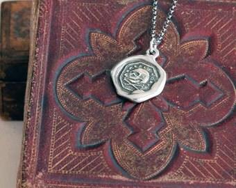 Skull & Crossbone Necklace -  Memento Mori Wax Seal Skull Necklace - 347