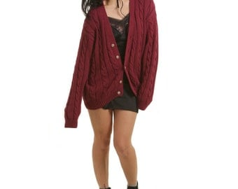 Vintage 1990's Burgundy Cable Knit Cardigan - S/M