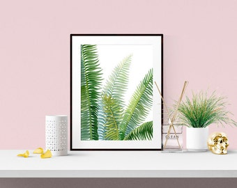 "Tropical Leaves - Watercolor -Print - Wall Art - Home Decor - Cycad - Palm - Fronds - Green-  5""x7"", 8""x10"", 11""x14"", 16""x20, 24""x30"""