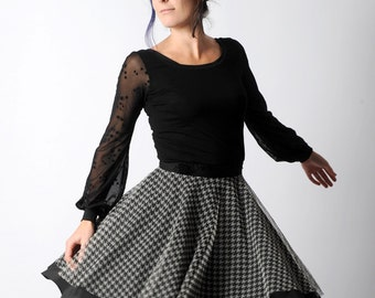 Flared black and grey skirt in black crepe and houndstooth patterned tulle ALL SIZES