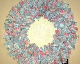 "Large 22"" SHABBY COTTAGE CHIC Romantic Rag Wreath In Blue, White, Green & Pink Floral Fabrics"