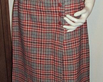 Pendleton Red Plaid A-line Wrap Skirt Wool Vintage Size 12 USA