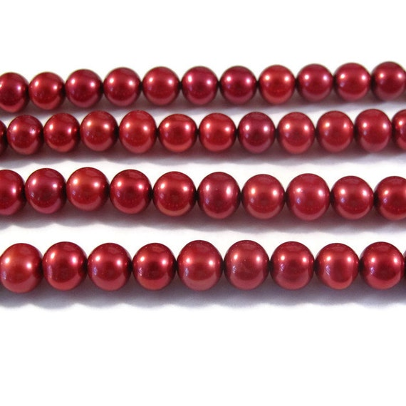 Red Freshwater Pearls, Large Potato Pearls, 7mm - 8mm, 15 Inch Strand, Over 60 Pearls for Making Jewelry (P-P5)