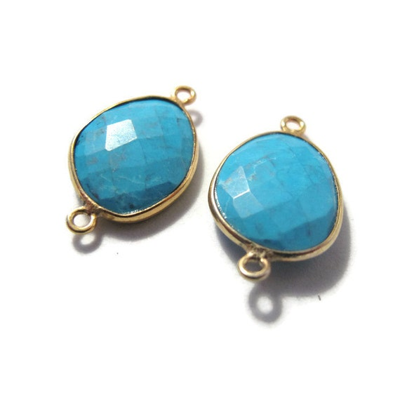 Two Matching Turquoise Charms, 2 Gemstone Charms with Gold Plated Bezel, Two Loops, Oval Shaped Gemstone Charms (C-Tq1h)
