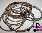 Bracelet, guitar string, bangle  - dainty - Repurposed, upcycled, creative reuse, recycled, humboldt made