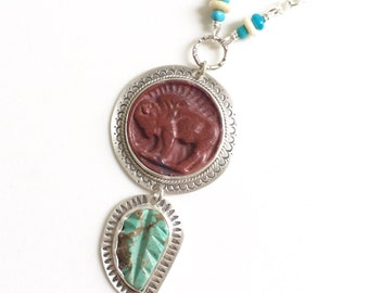 Buffalo Nickel and Turquoise Leaf pendant in Sterling Silver, stamped, pipestone