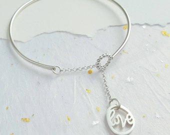 Silver personalised handwritten calligraphy love charm bangle
