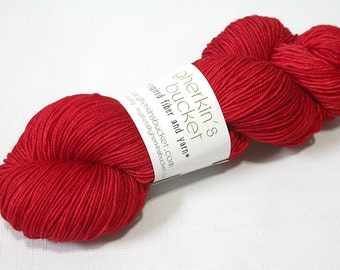 Hand Dyed Artisan Yarn, Tonal Kettle Dyed Sock Yarn, Semisolid SW Merino Wool Yarn, Simple SW Sport - Red Out Loud colorway (dyelot 61716)