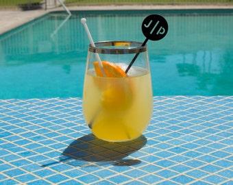 Personalized Monogram Drink Stirrers - Set of 6 Customizable Laser Cut Acrylic Swizzle Sticks