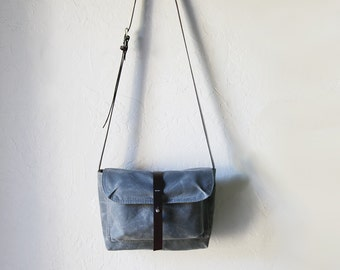 Waxed Canvas and Leather Crossbody Bag // The Small Satchel in Slate // Weather Resistant