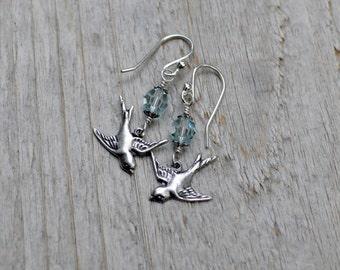 Silver Bird Earrings, Love Bird Earrings, Swallow Earrings, Bead Bird Earrings, Swarovski Crystal, Nature, Sterling Silver