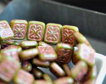 Paris Street Art - Czech Glass Beads, Opaque Apple Green, Red Picasso, Ornamental Rectangles 12x11mm Pc 6