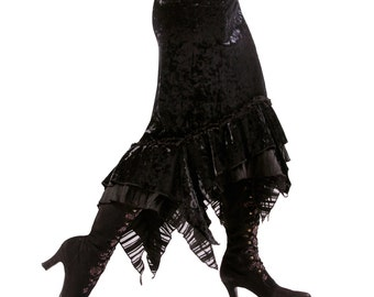 Skirt, YOUR SIZE, GOTHIC, Black, Velvet, Fetish, Nouveau, Vampire, Fusion, Witch, Goth, Steam Punk, Cocktail, Carnival, Costume