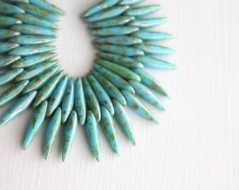 50 Opaque Blue Turquoise Picasso 4x15mm Czech Glass Thorn Beads