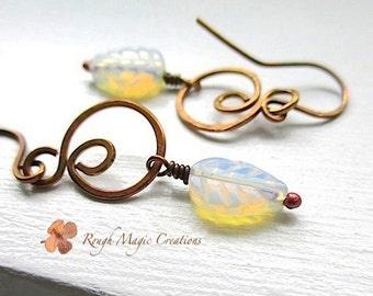 Rainbow Moonstone Earrings. White Stones. Woodland Jewelry. Rustic Copper Dangle Earrings. Boho Wedding Jewelry. Autumn Leaves Leaf Earrings