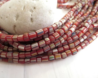 small matte striped seed beads, opaque red glass beads, spacer beads, barrel tube, Modern Indo-pacific  3 to 6mm / 10 in strd,5A5-2