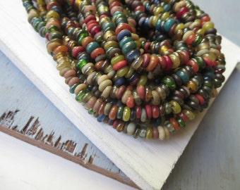 Rustic lampwork glass beads rondelle small spacer discs  mix matte and glossy indonesian  beads , diameter 5 to 7mm 20 inch strand - 6a5-2