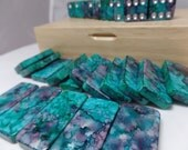 Domino Set  'Silver, Teal and Plum'  Hand Painted 28 Piece Standard Size in Handsome Lidded Wood Storage Box, alcohol inks, instructions