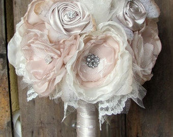 Brooch Bouquet , Wedding Bouquet,Flower Bouquet,Fabric Bouquet, Bridal bouquet, Champagne and Ivory, Shabby Chic Bouquet