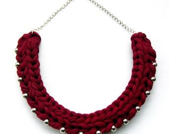 Burgundy Braided Necklace, Dark Red Cotton Necklace, Burgundy Knitted Necklace, Burgundy and Silver Necklace, Boho Necklace,Tribal Necklace.