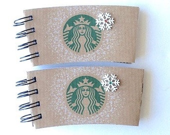 STARBUCKS Christmas Holiday Notebooks with Coffee Sleeve covers - set of 2