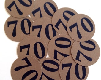 70th Birthday Stickers - Round 1 1/2 Inch Handmade Stickers, 70, Kraft Brown or Your Choice of Color, Set of 12