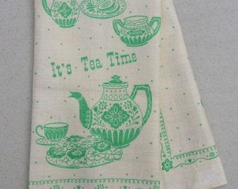 Vintage Towel Tea Time & Coffee Break MINT