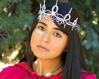 Silver REGINA Regal Queen Crown - Hand Wire Wrapped - Choose Your Own COLOR - Cosplay Circlet Bridal Tiara Wedding Hairpiece