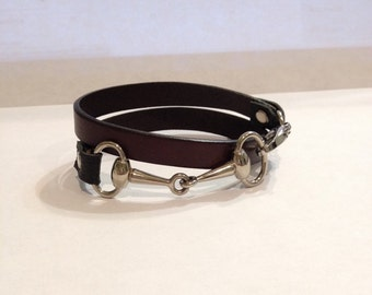 Double wrap leather and Snaffle Bit bracelet in Chocolate Brown