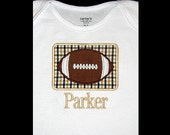 Custom Personalized Applique FOOTBALL PATCH and NAME Shirt or Bodysuit - Black and Gold Team Colors - Or Choose Colors