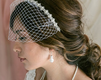 Mini Birdcage Veil, Birdcage Veil Headband, Bridal Veil, Wedding Veil, Bridal Headpiece, Pearl Wedding Headband