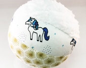 Unicorn Rattle Ball - Soft Plush Toy Ball with a Rattle Inside - Unique Baby Shower Gift - Organic Cotton Fabric and Chenille