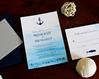 Nautical Sea Custom Wedding Invitation Set