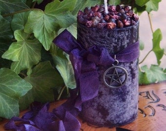 "WITCHBERRY™ ""Old European Witchcraft""™ Pillar Candle w/ Gunmetal Black Pentacle, Blackberry, Frankincense, Ripe Berries, Warm Vanilla Sugar"