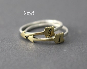 Arrow Initial Ring, Arrow Ring, Stack Ring, Sterling Silver, Hammered Band, Silver Ring, Custom Initial, Personalized Ring, Gold Ring