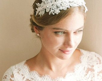 Lace wedding headband, bridal headband, wedding headband, wedding hair - style 240