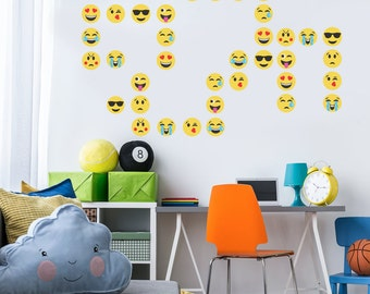 36 Emoji Wall Decals, Repositionable Emojis Peel and Stick Matte Fabric Wall Decal Stickers