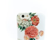 Floral iPhone 6S Plus Case Peony Bunch iPhone 6S Case Pink and White Peonies