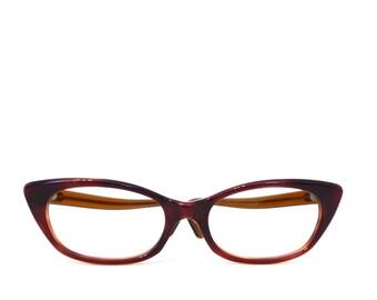 Gorgeous Silken Red Auburn Fade Winged Cat Eye Glasses Frame Glossy NOS Vintage 60s Eyeglasses or Sunglasses Never Used CatsEyes